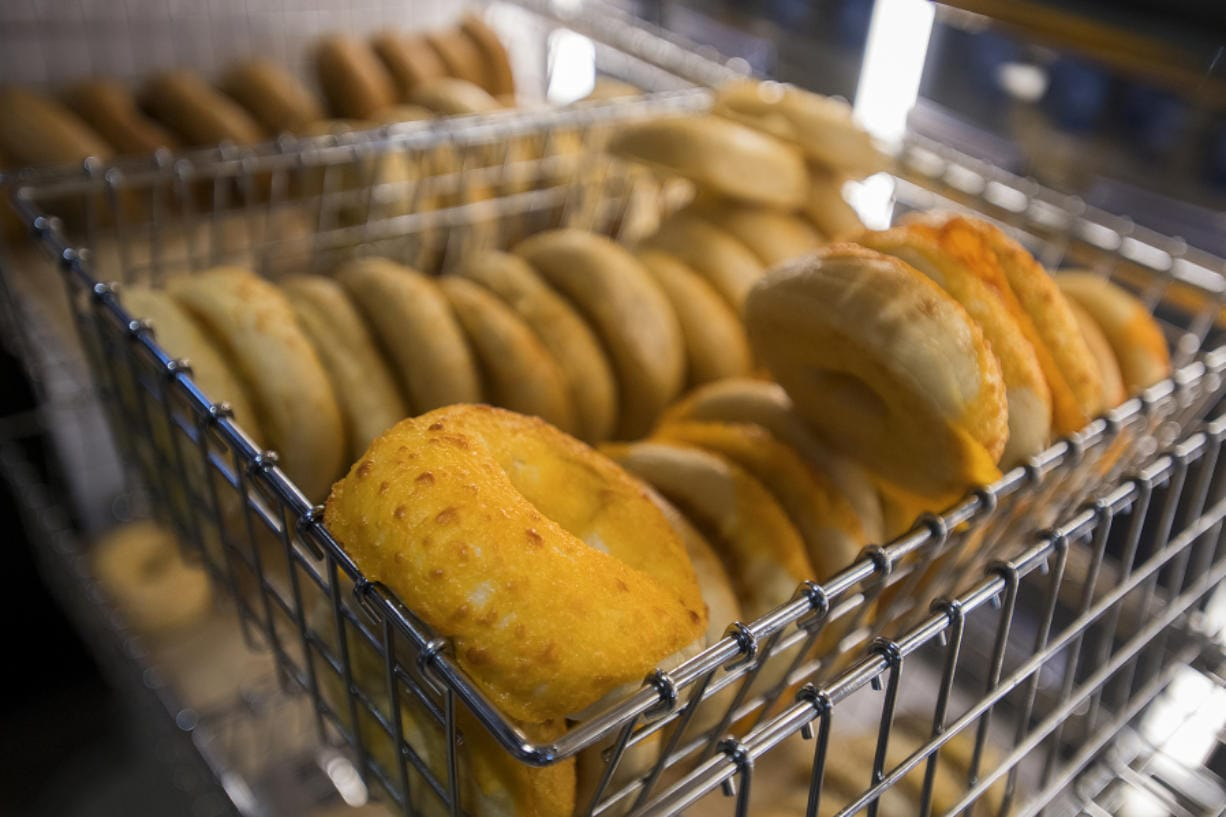 A selection of fresh bagels is on display for customers at Seize the Bagel's location in Orchards on Wednesday afternoon.