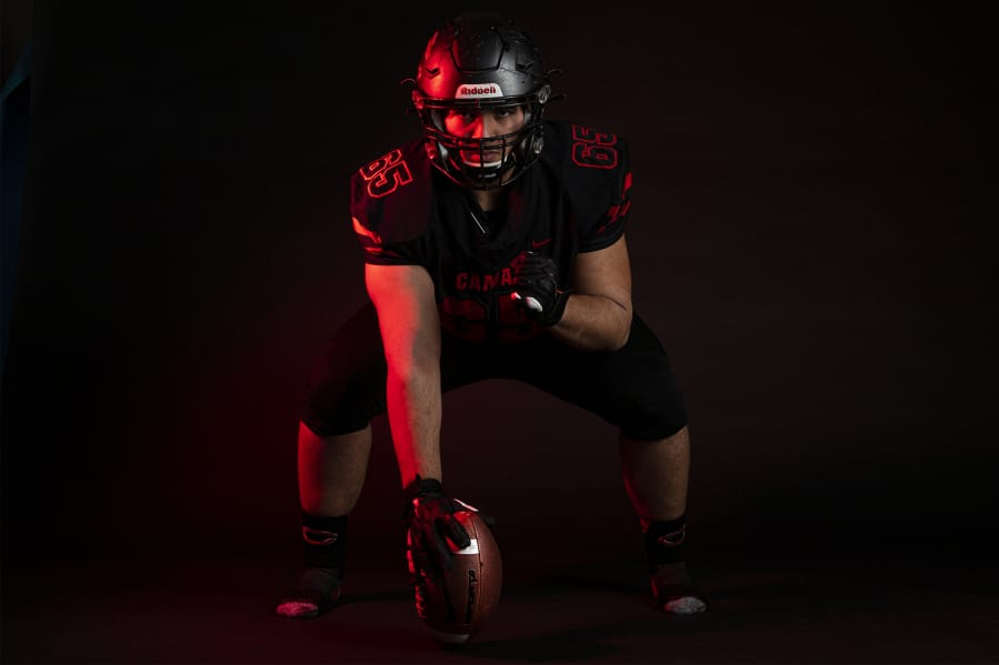 After being selected The Columbian's All-Region football player of the year, Camas senior Tai Tumanuvao said credit goes to the entire Camas offensive line. (Nathan Howard/The Columbian)