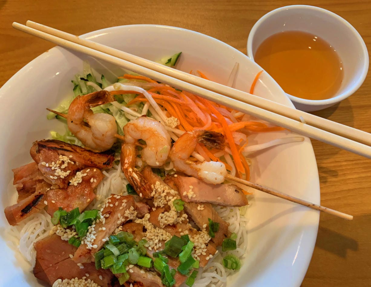 Grilled Chicken and Shrimp Vermicelli at Pho Vi Van.