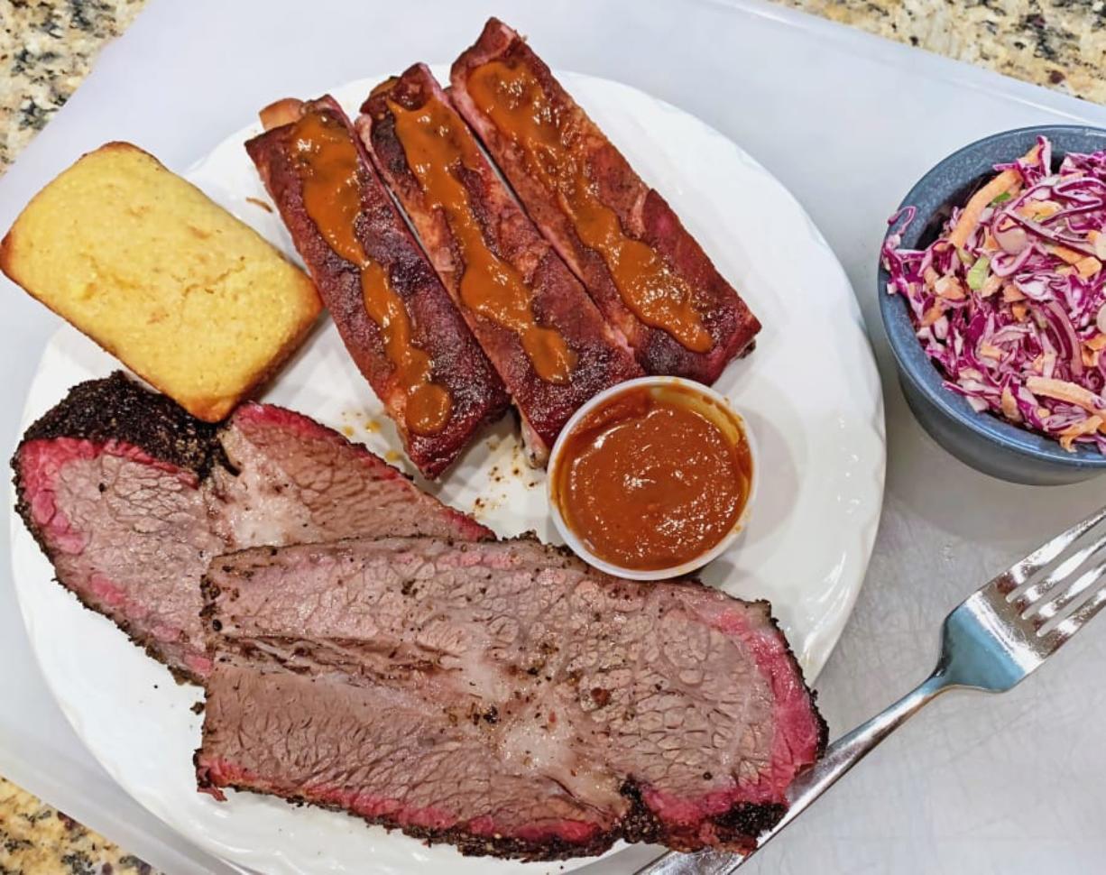 Brisket and ribs at SugarFoot's BBQ. (Rick Browne for The Columbian)