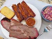 Brisket and ribs at SugarFoot's BBQ.