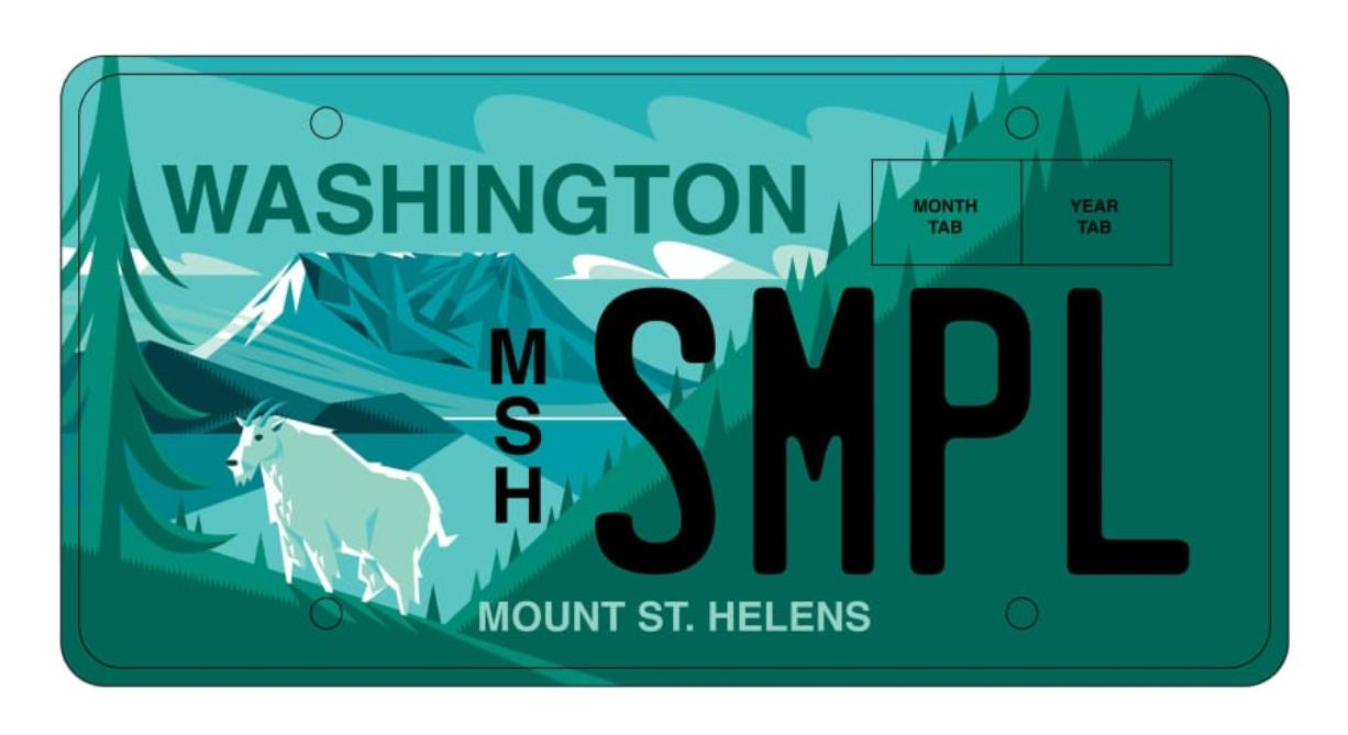 The Mount St. Helens Institute is working with Rep. Ed Orcutt, R-Kalama, to secure legislative approval for a Mount St. Helens license plate to coincide with the 40th anniversary of the mountain's 1980 eruption. (Sketch courtesy of Mount St.