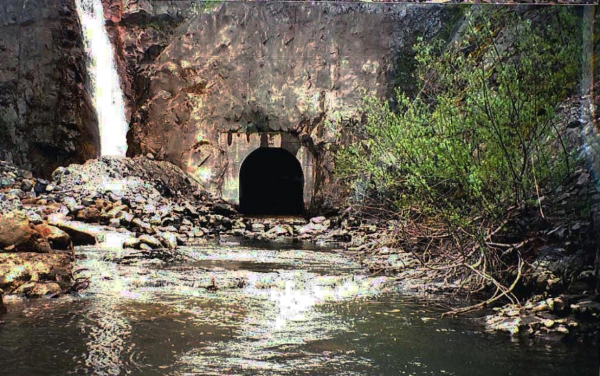 South Coldwater Creek joins the flow of water exiting the downstream end of the Spirit Lake drainage tunnel the Army Corps of Engineers completed in 1985. (U.S.