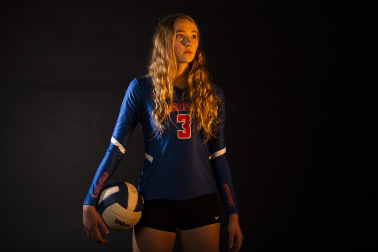 Ridgefield's Delaney Nicoll will continue her volleyball career at the University of Idaho. But not before she led Ridgefield to its second consecutive 2A state championship. (Nathan Howard/The Columbian)