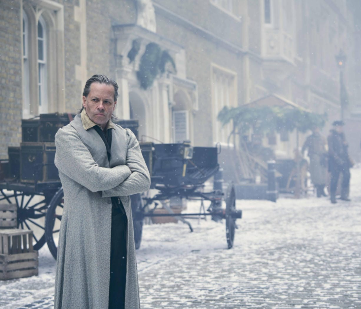 """England-born, Australia-raised actor Guy Pearce stars as Ebenezer Scrooge in FX's new version of Charles Dickens' classic, """"A Christmas Carol,"""" premiering Dec. 19."""