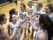 Kinsey Tindoll, center, is the lone senior on this year's King's Way Christian roster. But that doesn't mean the Knights are short of talent.