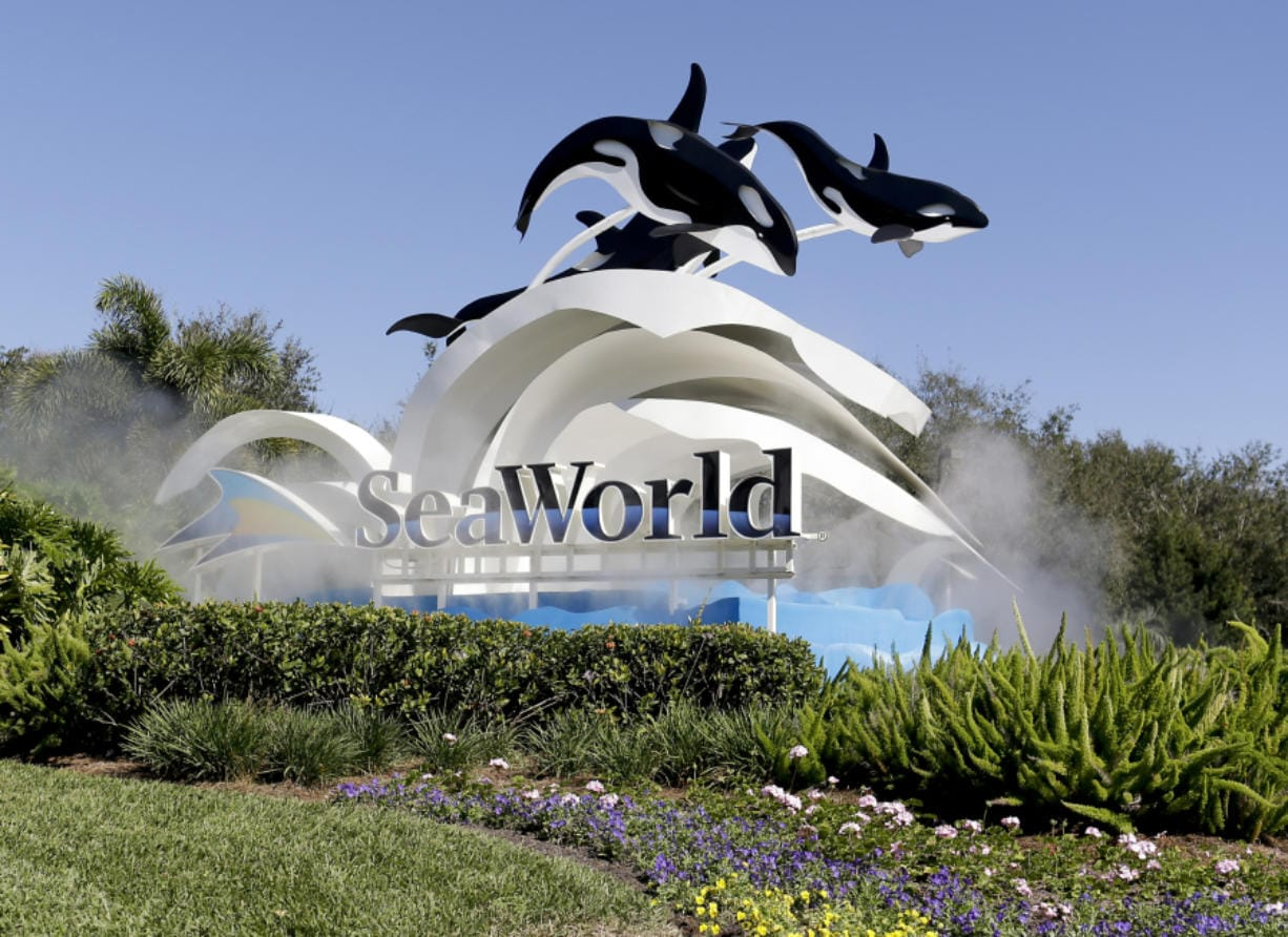 The entrance to Sea World in Orlando, Fla., is shown in 2017.