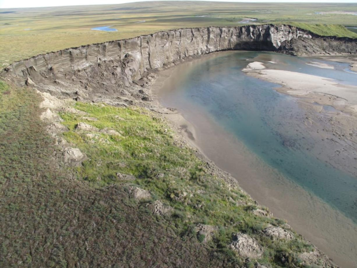 A view of very icy permafrost known as yedoma along the Itkillik River in northern Alaska.