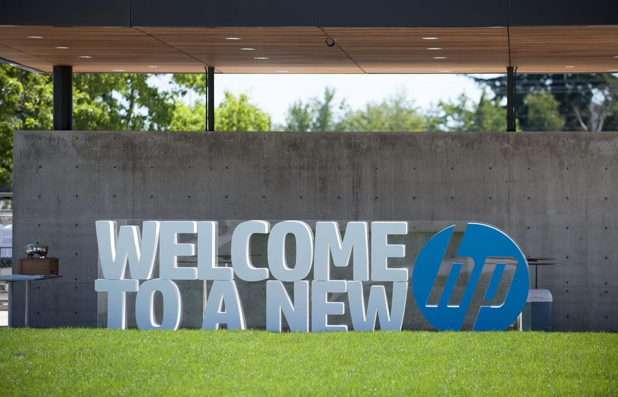 A sign welcomes visitors to the HP Inc., facility in Vancouver in 2016. (Amanda Cowan/The Columbian files)