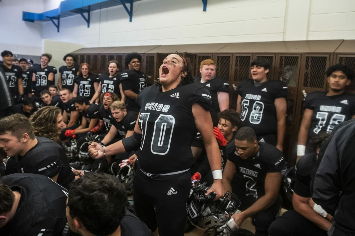 Union's Alex Wood tries to pump up his team during halftime in a game against Chiawana at McKenzie Stadium on Friday night, Sept 27, 2019.