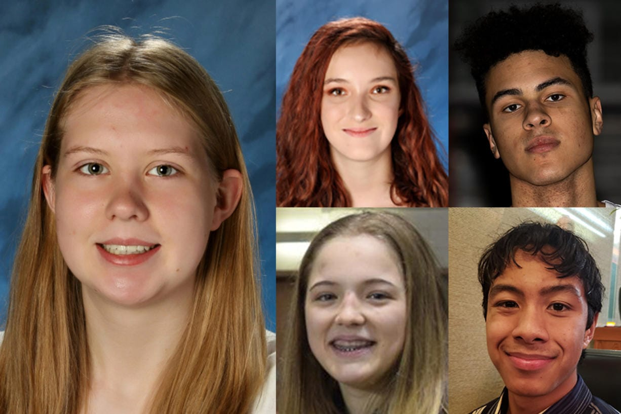 Camas' Faith Bergstrom is the Week 1 Winter Sports Prep Athlete of the Week. Other nominees (clockwise from top left) where Nicole Hayes of Skyview bowling, Kaden Perry of Battle Ground basketball, Kodee Soetamin of Mark Morris swimming and Neveah Cassidy of Union girls wrestling.