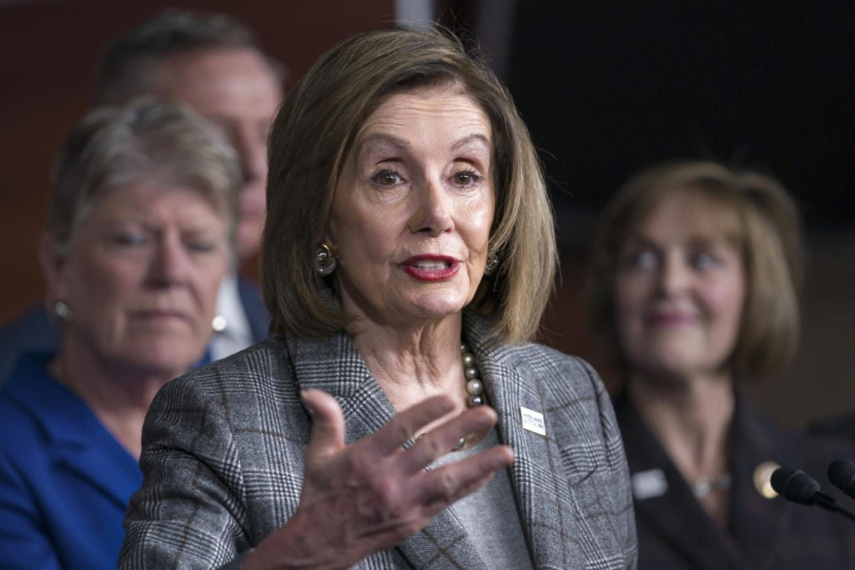 Speaker of the House Nancy Pelosi, D-Calif., discusses her recent visit to the UN Climate Change Conference in Madrid, Spain, on Friday at the Capitol in Washington. (J.