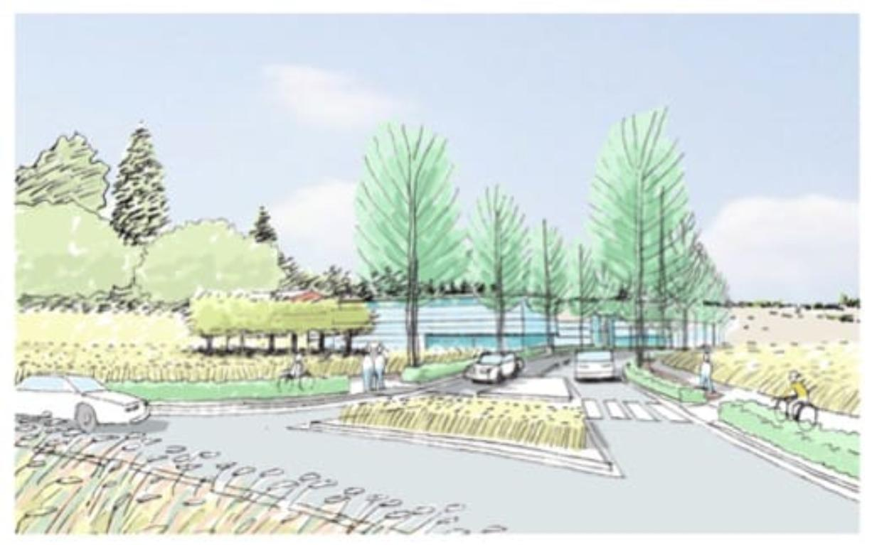A conceptual rendering shows the entrance to a proposed HP campus at the intersection of First Street and 184th Avenue. (City of Vancouver)