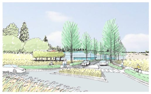 A conceptual rendering shows the entrance to a proposed HP campus at the intersection of First Street and 184th Avenue.