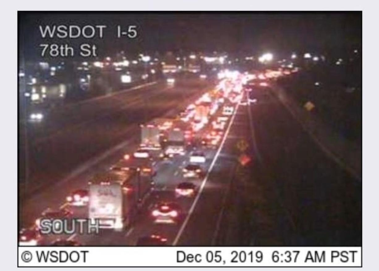 A rollover on the northbound I-5 Bridge blocked two lanes, but it was cleared around 6:45 a.m., according to the Washington State Department of Transportation. (WSDOT)