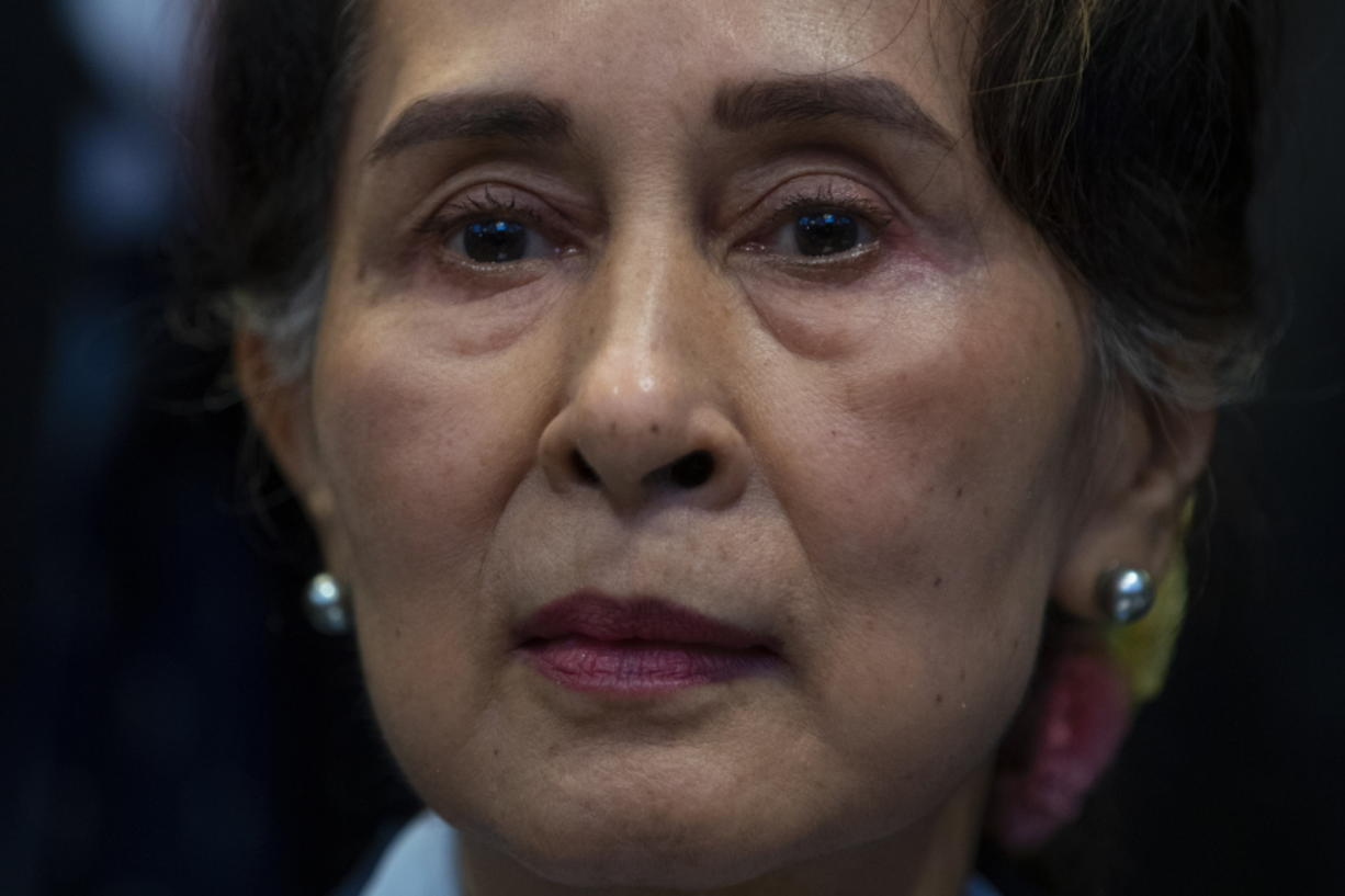 Myanmar's leader Aung San Suu Kyi waits to address judges of the International Court of Justice on the second day of three days of hearings in The Hague, Netherlands, Wednesday, Dec. 11, 2019. Aung San Suu Kyi will represent Myanmar in a case filed by Gambia at the ICJ, the United Nations' highest court, accusing Myanmar of genocide in its campaign against the Rohingya Muslim minority.