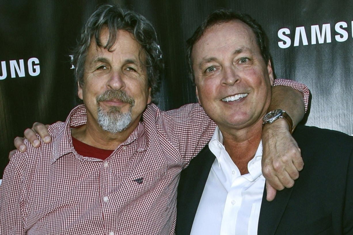 "FILE - In this Aug. 10, 2015 file photo, Peter Farrelly, left, and Bobby Farrelly attend The Project Greenlight Season 4 premiere of ""The Leisure Class"" at The Theatre At The Ace Hotel in Los Angeles. The Boston-based Ruderman Family Foundation said Wednesday, Dec. 4, 2019, that the brothers are recipients of its sixth annual Morton E. Ruderman Award in Inclusion for pressing Hollywood to do a better job of casting and portraying people with disabilities. (Photo by Paul A. Hebert/Invision/AP, File)"