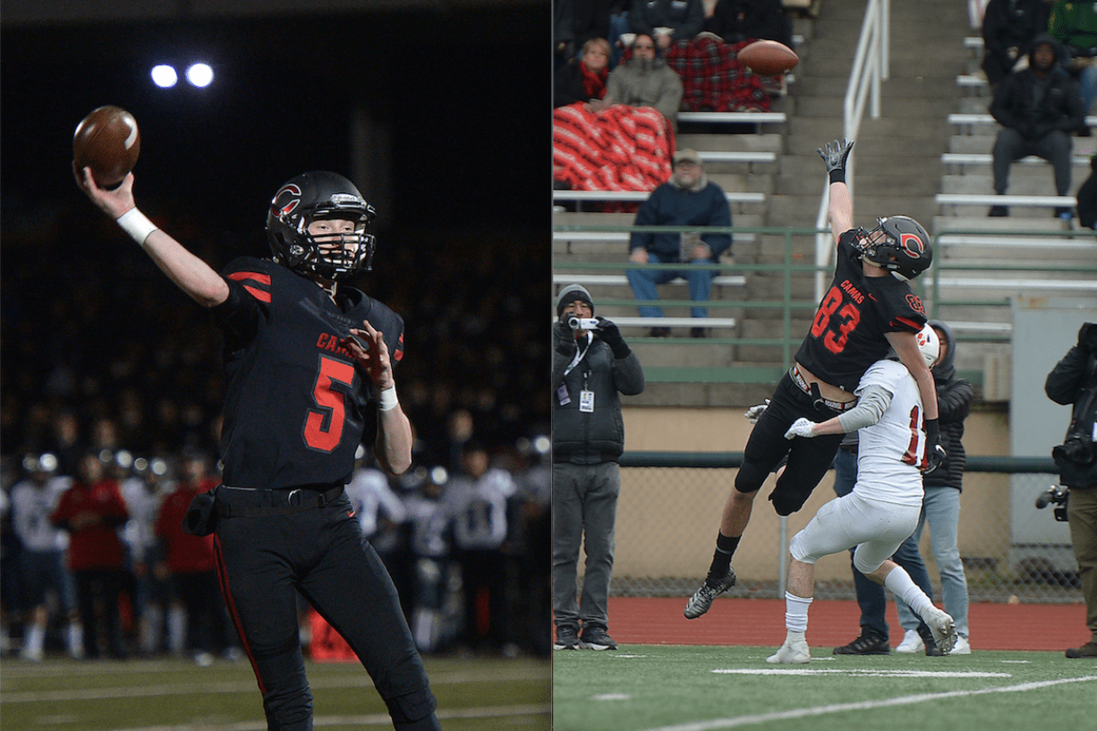 For Camas quarterback Blake Asciutto, left, having a reliable receiver such as Jackson Clemmer has been a key to success (Sam Wilson/for The Columbian)