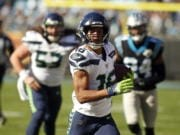 Seattle Seahawks wide receiver Tyler Lockett (16) had eight catches for 120 yards and a touchdown against the Carolina Panthers last Sunday in Charlotte, N.C.