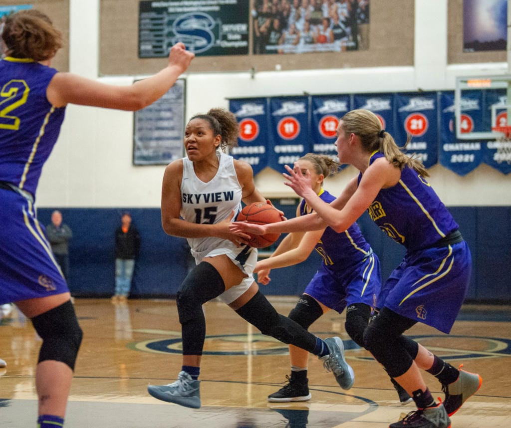 Skyview's Kazz Parks drives through the Columbia River defense. (Joshua Hart/The Columbian)