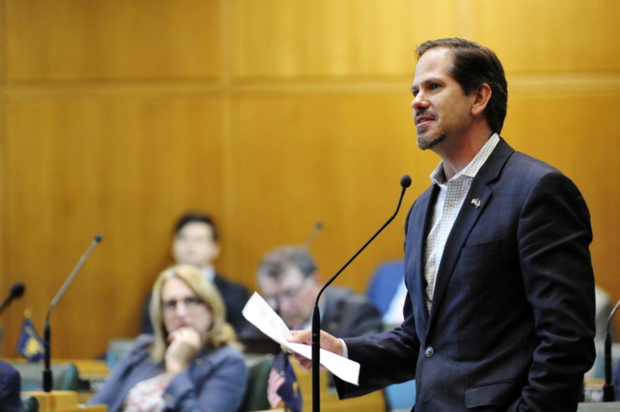FILE - In this May 21, 2018, file photo, Oregon Republican Rep. Knute Buehler speaks in the House chamber during a special legislative session in Salem, Ore. A leading Republican in Oregon announced Tuesday, Dec. 3, 2019, he will dump campaign contributions from Gordon Sondland after sexual misconduct allegations against the Portland businessman-turned-diplomat surfaced last week. Buehler, who ran unsuccessfully as the Republican nominee for governor of Oregon in 2018 and is considering a run for Congress in 2020, said he and his wife Patty were disturbed by the allegations.