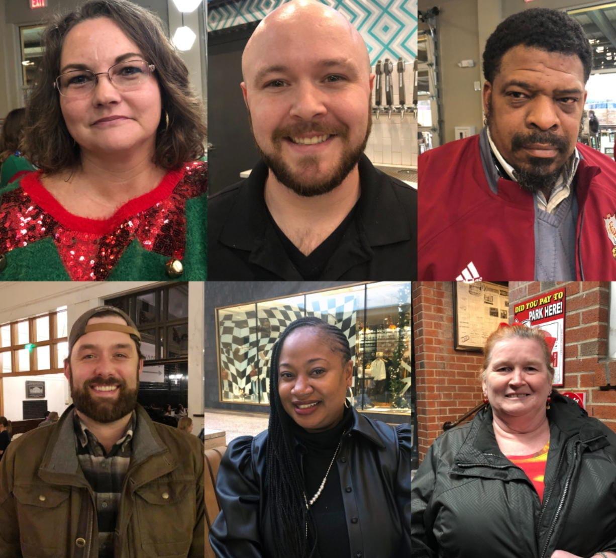 This combination of photographs shows, top row from left: Aimee Brewer, Ben Bolen, Mark McQueen, bottom row from left: Morgan O'Sullivan, Natasha Adams, Alice Cutting, Wednesday, Dec. 18, 2019.