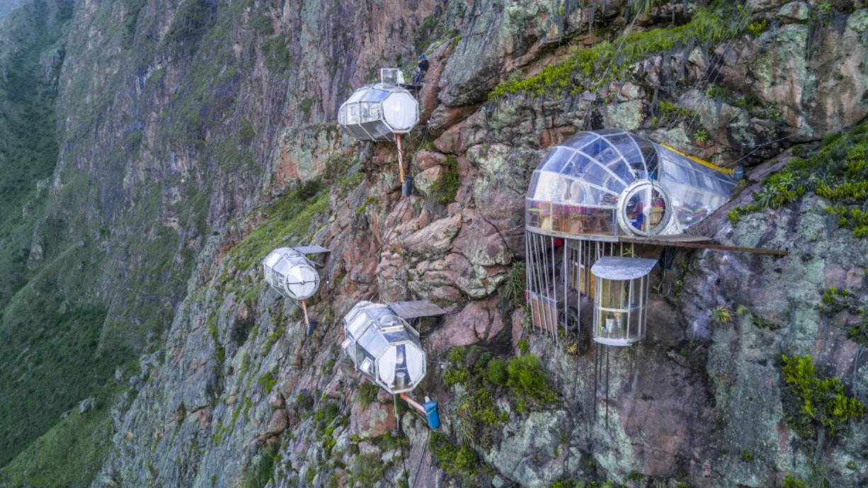 Skylodge Adventure Suites is made up of clear pods hanging above the Sacred Valley in Cusco, Peru.