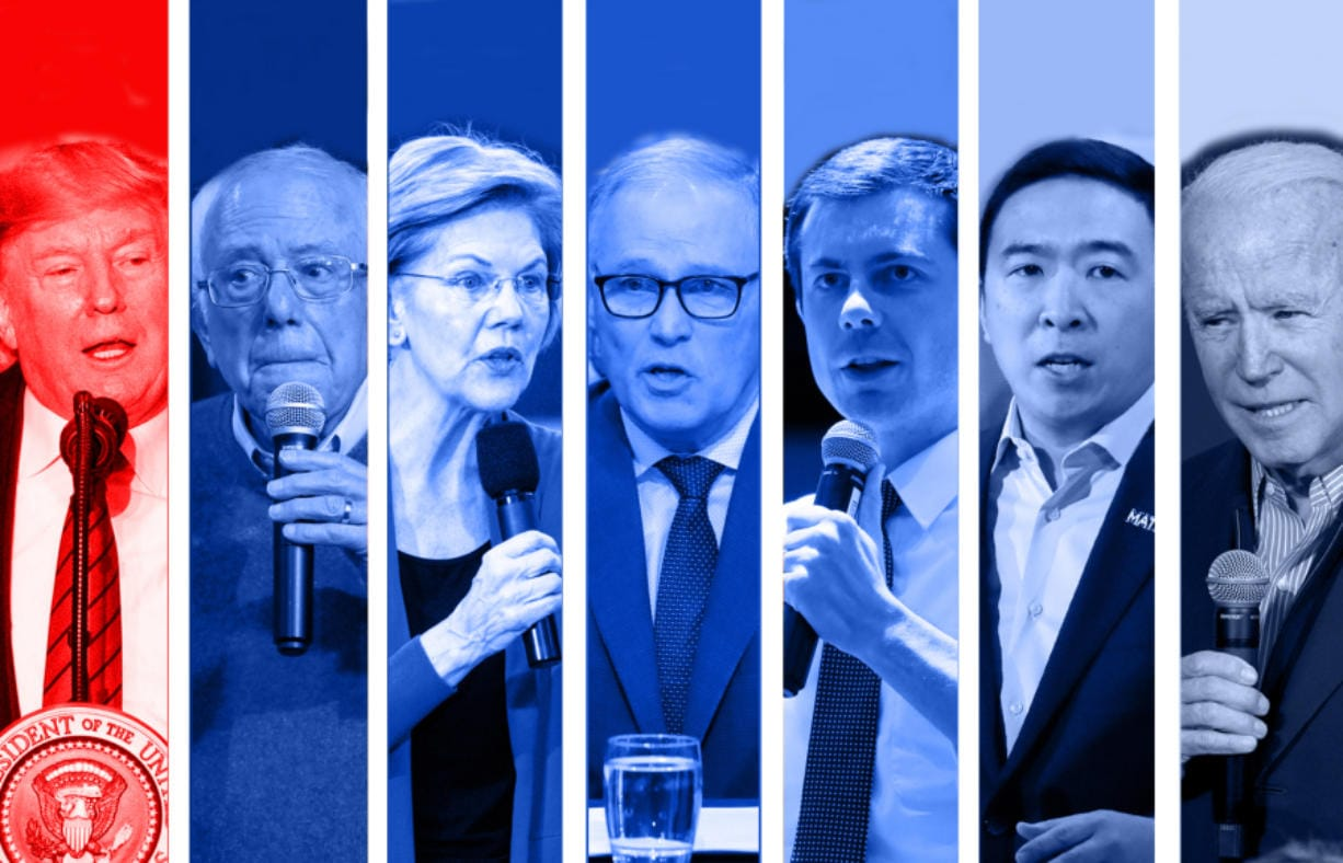 President Donald Trump, from left, Sen. Bernie Sanders, Sen. Elizabeth Warren, Washington Gov. Jay Inslee, Pete Buttigieg, Andrew Yang and Joe Biden.