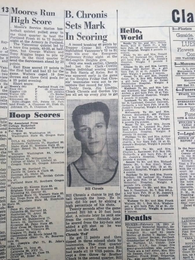 Details of Bill Chronis' scoring record from the Feb. 22, 1955 edition of The Columbian. (The Columbian archives)