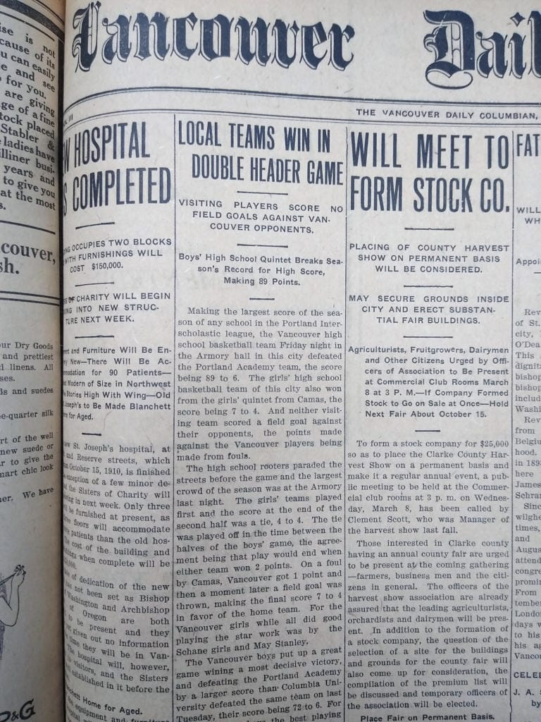 Vancouver Daily Columbian from March 4, 1911 with details of Vancouver High School's high-scoring basketball game. (The Columbian archives)