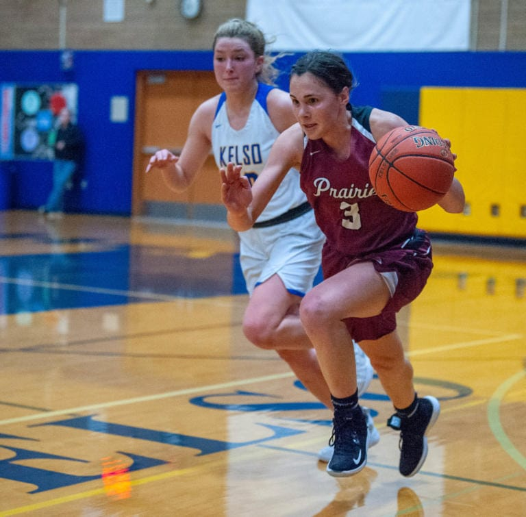 Prairie's Meri Dunford dribbles up the court during Prairie's 44-29 win in a 3A Greater St. Helens League girls basketball game Thursday in Kelso. (Joshua Hart/The Columbian)