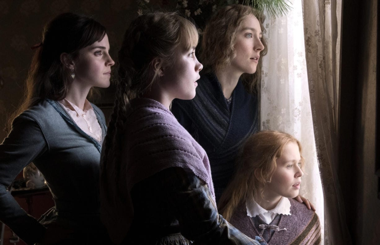 "The March sisters of ""Little Women,"" played by, from left, Emma Watson, Florence Pugh, Saoirse Ronan and Eliza Scanlen."