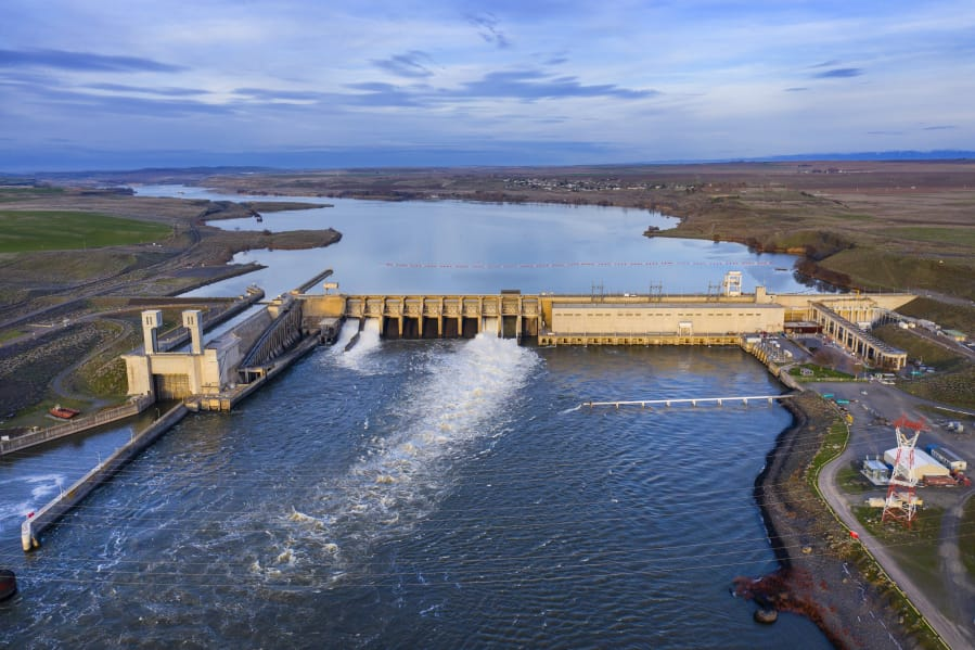 This aerial view shows the Ice Harbor Dam in April, looking east up the Snake River.