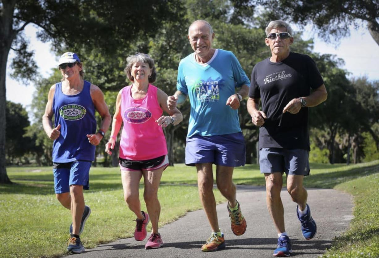 The Rolling Stones are a group of four seniors in Palm Beach County, Fla., who participate in marathons. (bruce R. Bennett/Palm Beach Post)