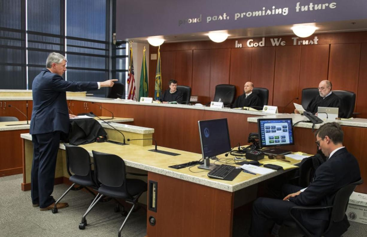 Defense attorney Timothy Hobbs addresses the court Tuesday during a state appeals hearing regarding a Millennium Bulk Terminals denied permit at the Clark County Public Service Center in Vancouver.