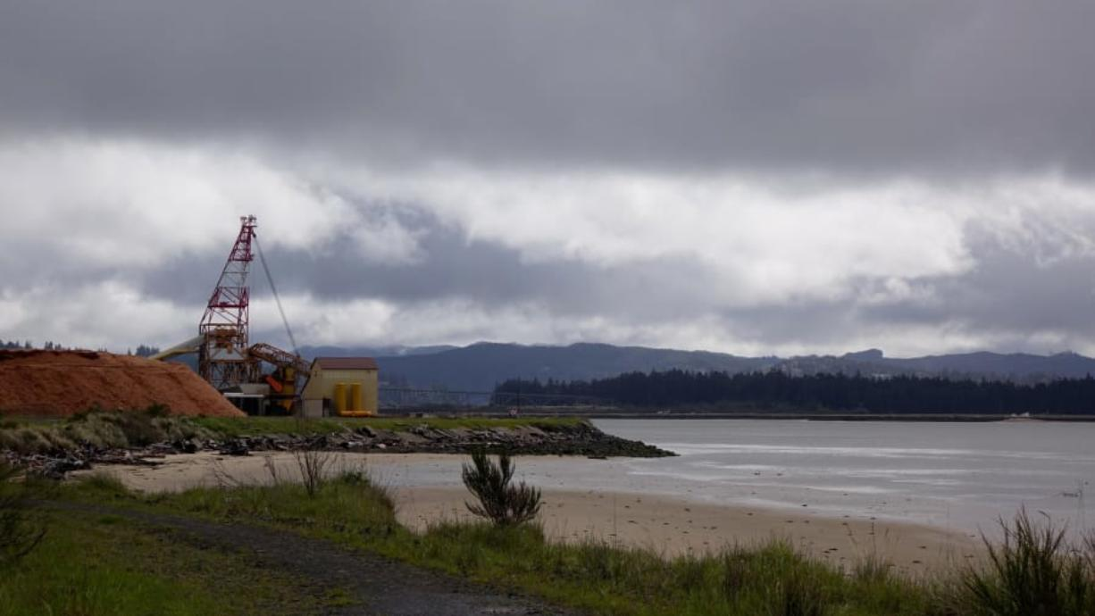 This undated photo shows Coos Bay, Ore., from a spot where Jordan Cove LNG terminal ship would be excavated, if approved by regulators. (Jes Burns/OPB)