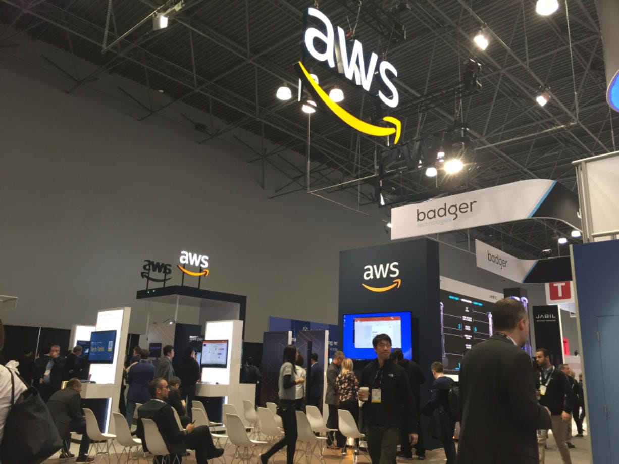 Amazon Web Services booth at the National Retail Federation's annual trade show in New York on Jan. 12-14, 2020.
