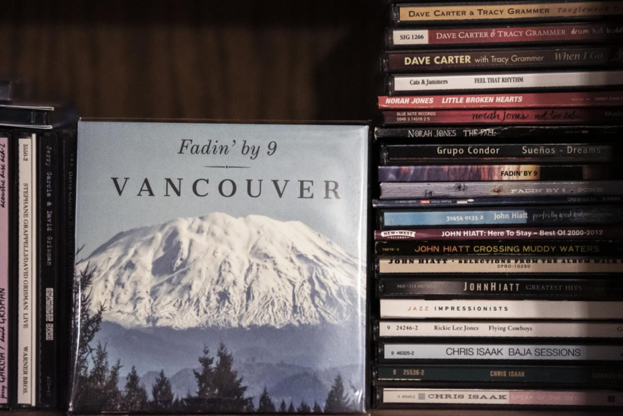 "Fadin' by 9's new album, ""Vancouver,"" features a photo of Mount St. Helens that was snapped on the campus of Washington State University Vancouver. (Nathan Howard/The Columbian)"