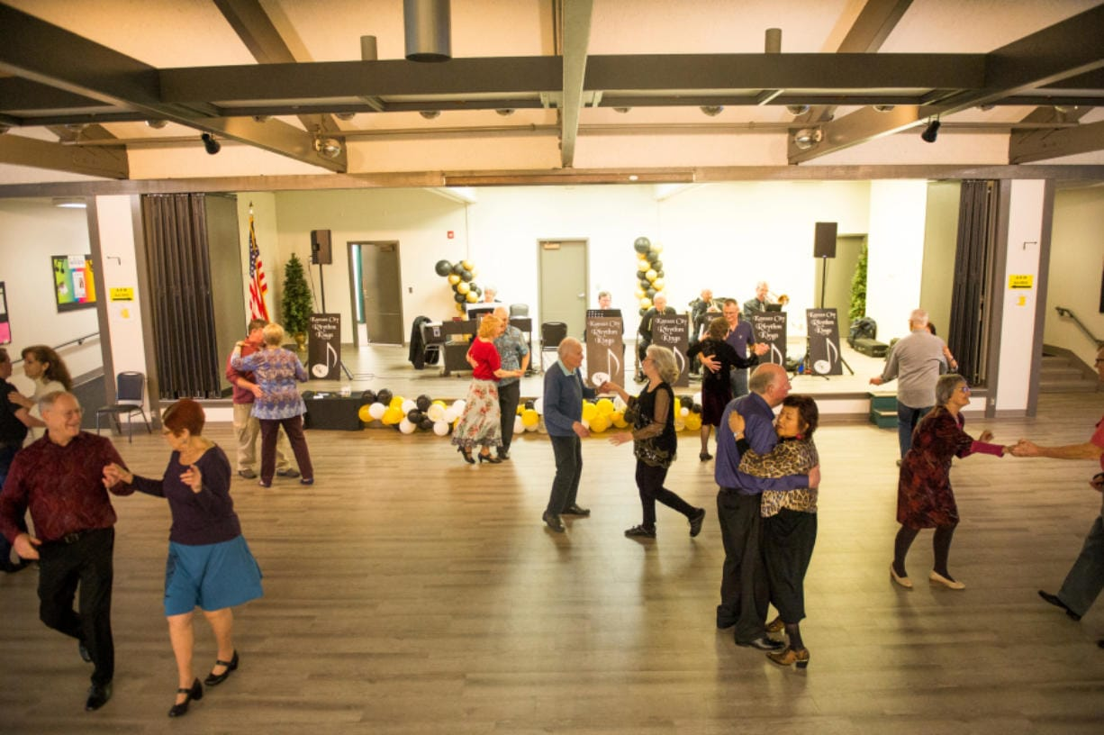 Dancers move with their partners at the Luepke Senior Center on Sunday, January 5, 2019. Vancouver Parks and Recreation offers senior dances every Sunday that draw people from around the Portland area. (Samuel Wilson for the Columbian)