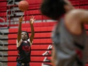 Fort Vancouver's Kahlil Singleton works on his shot during practice Monday. Singleton, a sophomore broke the long-standing school record by scoring 55 points in a recent game. The previous record was shared by two players from 1955 and 1911.