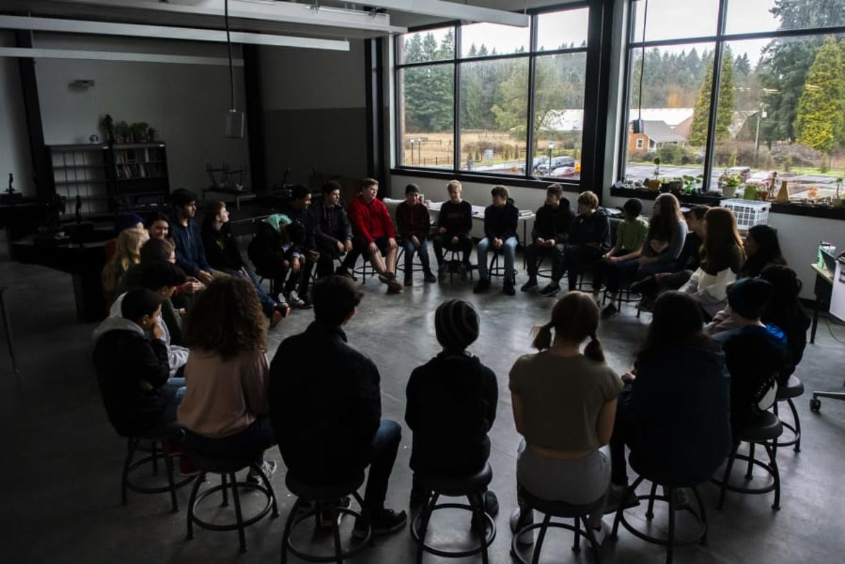 Students gather in a discussion circle, called a Socratic Seminar, during a sciences course at the new iTech Preparatory School on Friday morning. Students are encouraged to discuss the issues and ideas presented in a text in a Socratic Seminar setting.