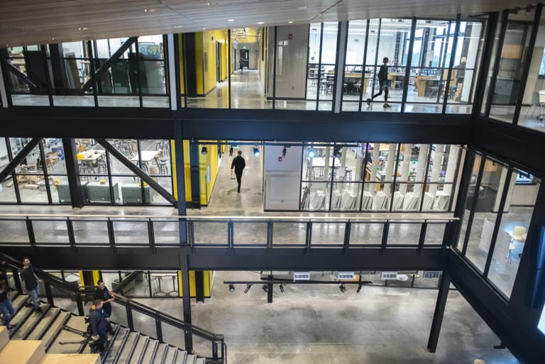 Students walk through the common area of the new iTech Preparatory School on Friday morning, Jan. 10, 2020. (Nathan Howard/The Columbian)