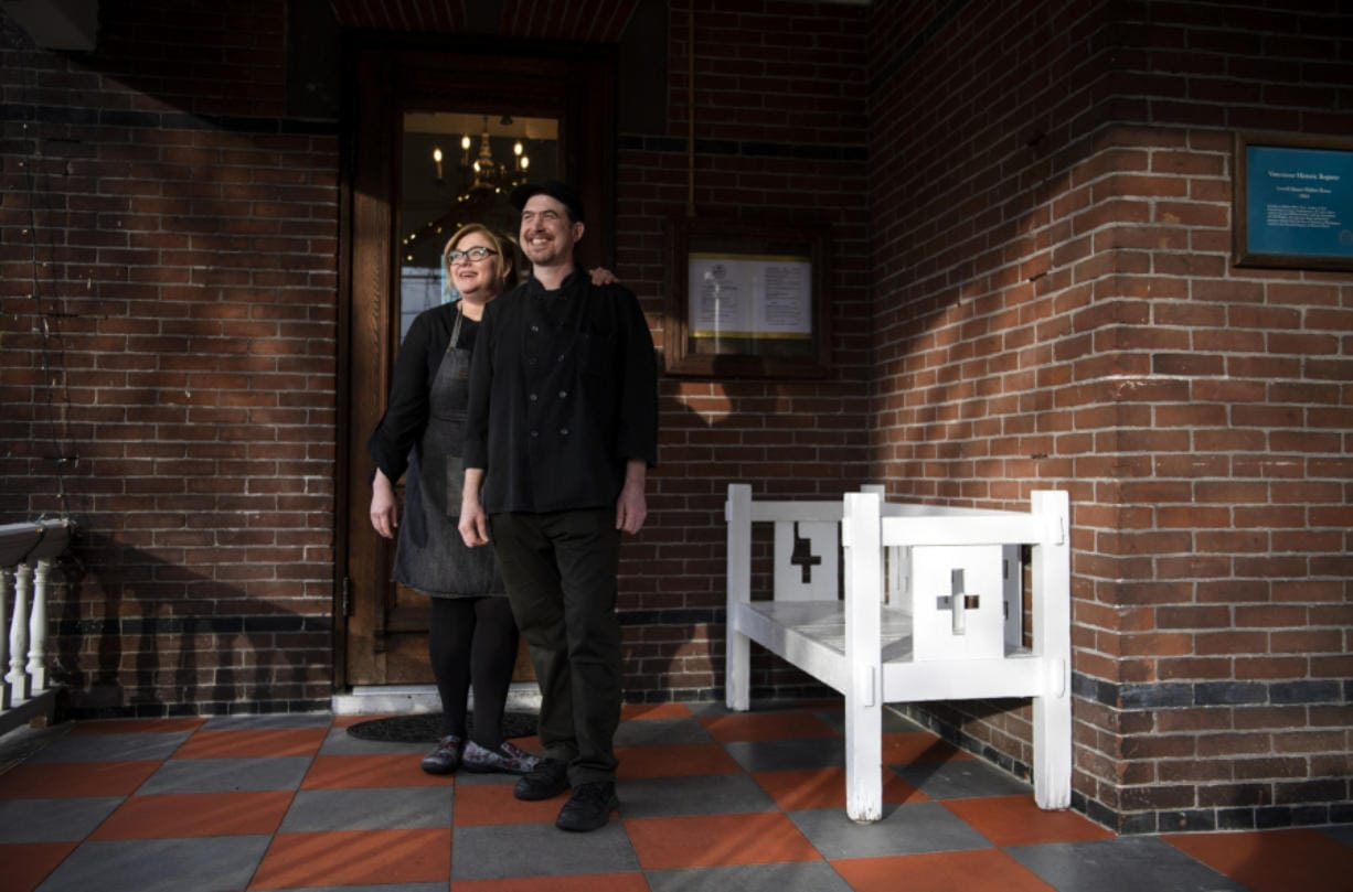 Chef co-owners Elaine Frances and David White at Hidden House Market in Vancouver on Thursday. The couple have been running a catering business out of this location for two years, but just opened up the market and lunch spot last month. (Photos by Alisha Jucevic/The Columbian)