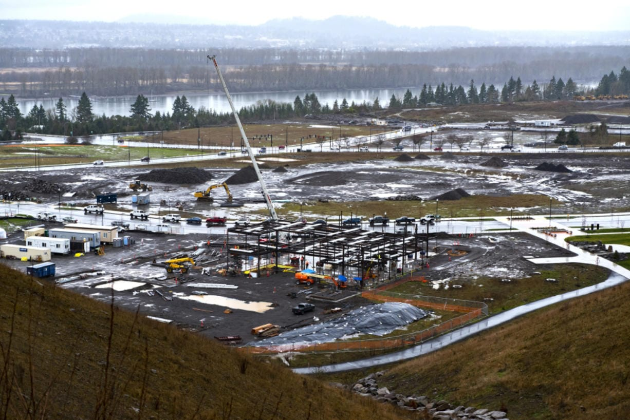 The Columbia Palisades construction site, as seen on Jan. 13 from on top of the bluff at the northeast corner. (Photos by Nathan Howard/The Columbian)
