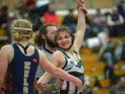 Union's Riley Aamold beats Kelso's Kyla Shoddy to win the 130-pound weight class at the Clark County Championship wrestling tournament at Skyview High School on Saturday, January 18, 2020.