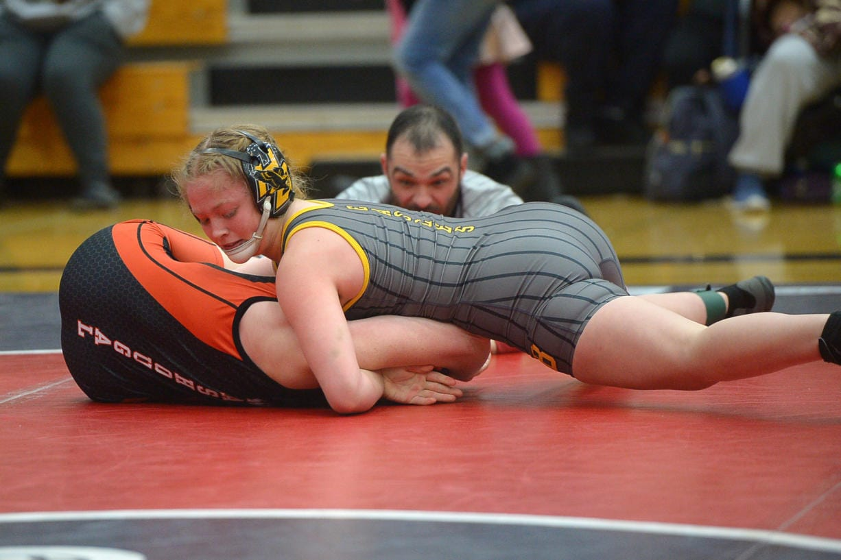 Hudson's Bay's Allison Blaine beats Washougal's Ashley Garrison to win the 135-pound weight class at the Clark County Championship wrestling tournament at Skyview High School on Saturday, January 18, 2020. (Samuel Wilson for the Columbian)