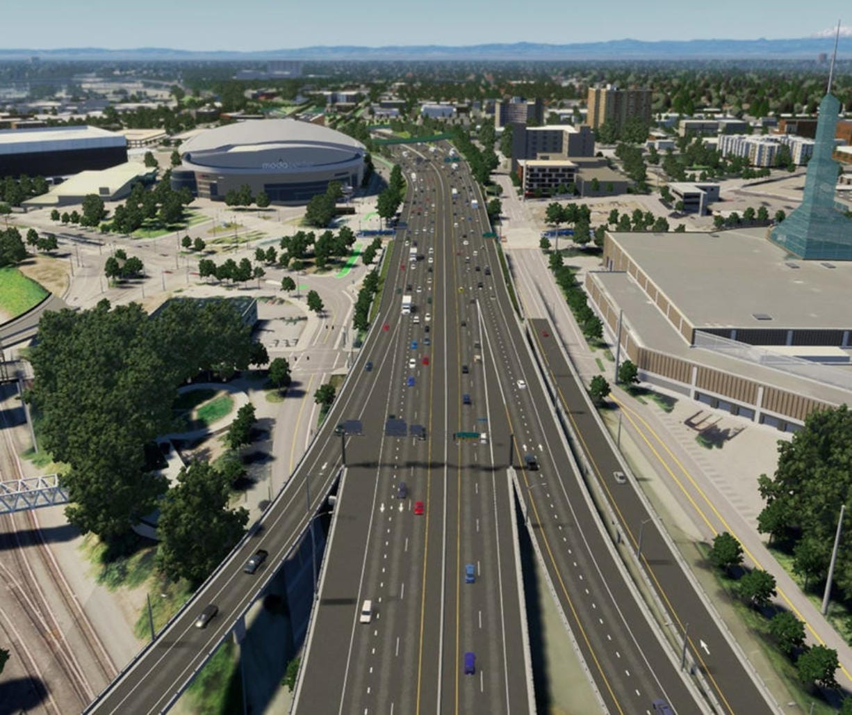 This sketch shows Interstate 5, looking north toward the Moda Center, after auxiliary lanes between onramps and offramps have been added to the freeway and street improvements have been made near the Rose Quarter. (Graphic courtesy of the Oregon Department of Transportation)