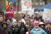 The Women's March in Vancouver seemed to have extra urgency this year. Speakers urged the crowd to start marching now, and stay politically active right through Election Day in November. (James Rexroad for The Columbian)