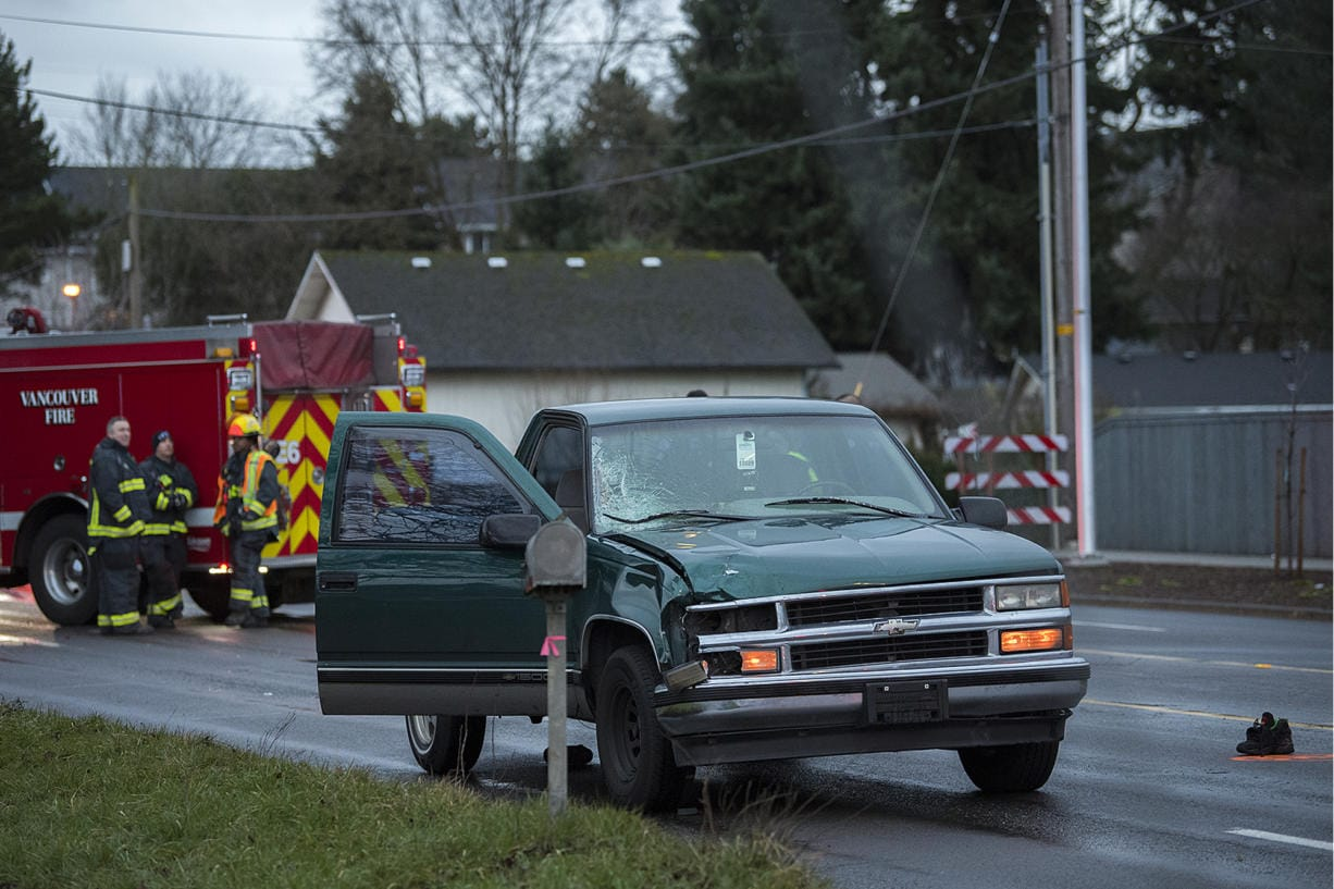 Police say a pickup was involved in the fatal pedestrian crash along Northeast 112th Avenue on Tuesday morning, Jan. 21, 2020.