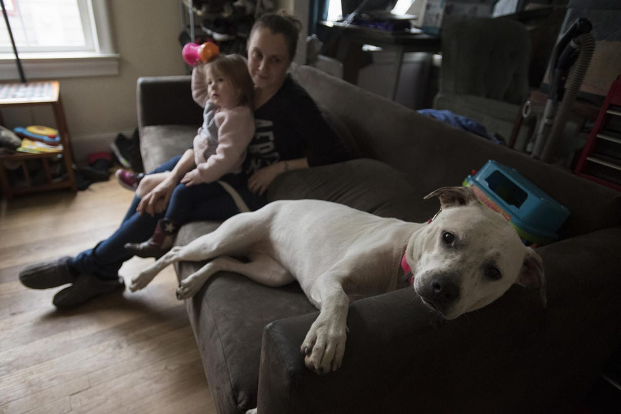 Pyperann Jones, 22 months, relaxes with her mother, Taylor Jones, and one of the family's dogs, Bonnie, 1, at their Vancouver home.